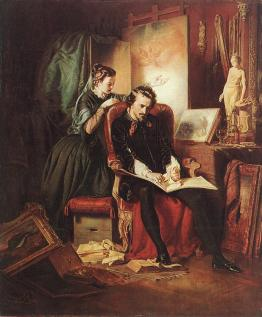 József_Borsos-_The_Dissatisfied_Painter_(Crisis_in_the_Life_of_a_Painter),_1852